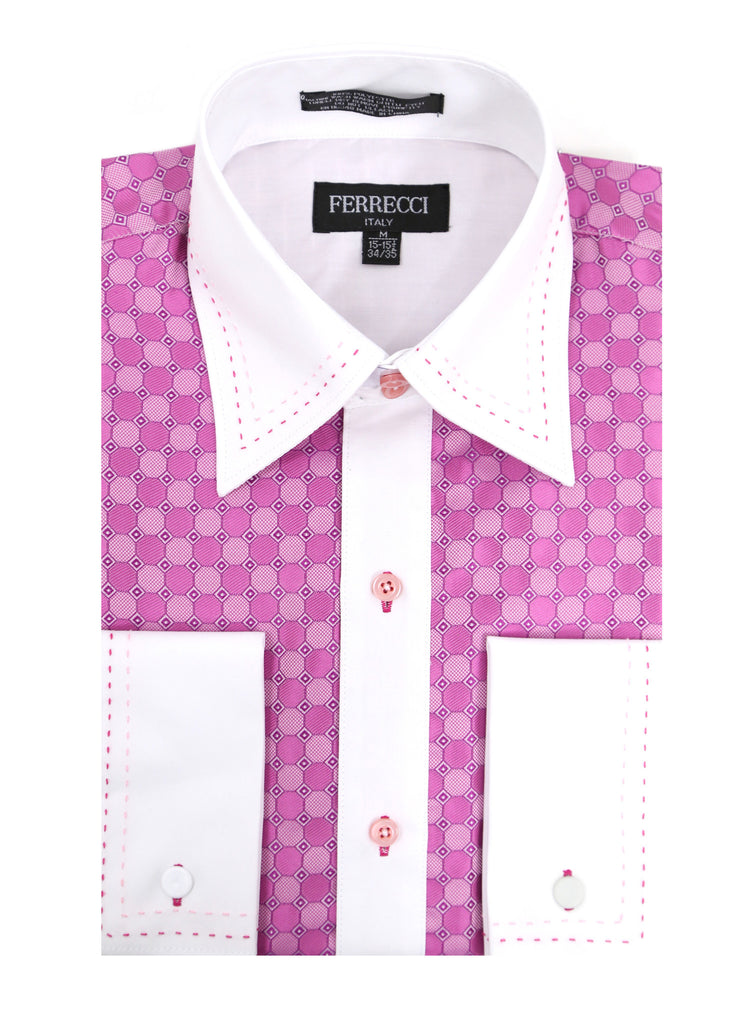 Ferrecci Men's Satine Hi-1020 Fuchsia Circle Pattern Button Down Dress Shirt - FHYINC best men's suits, tuxedos, formal men's wear wholesale