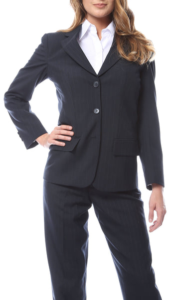 Womens Navy Pinstripe Business Casual Uniform Blazer