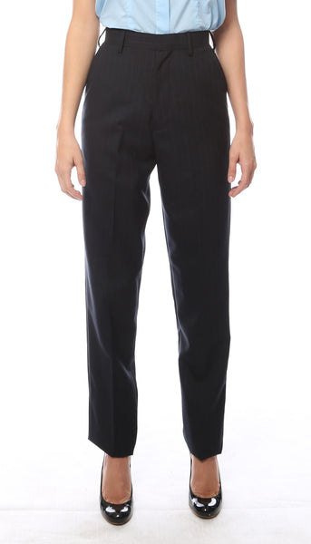 Hallmark Womens Navy Pinstripe Uniform Dress Pants