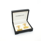 Goldtone Brass Ridgid Cylinder Cuff Links With Jewelry Box - FHYINC best men's suits, tuxedos, formal men's wear wholesale
