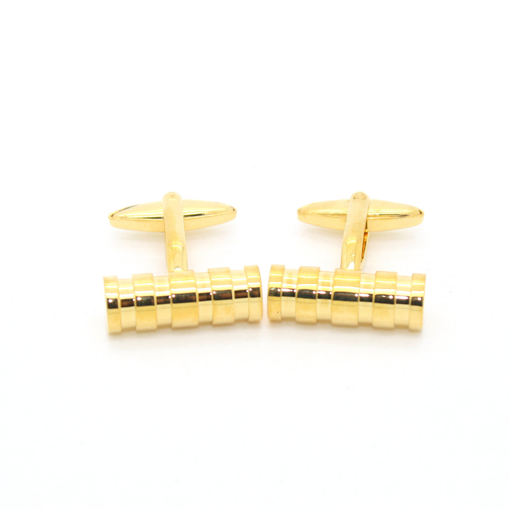 Goldtone Brass Ridgid Cylinder Cuff Links With Jewelry Box - FHYINC best men