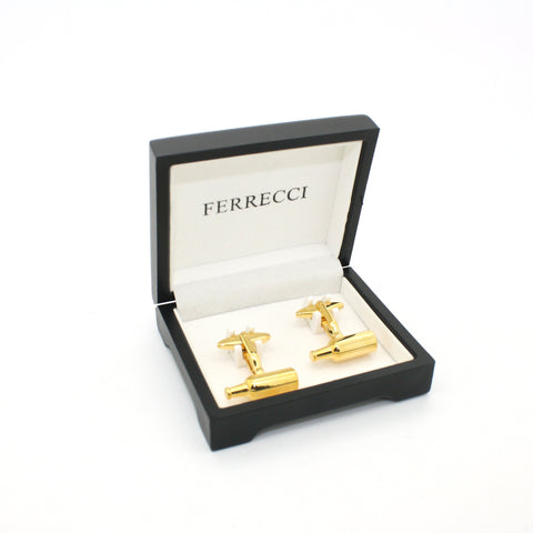 Goldtone Bottle Cuff Links With Jewelry Box