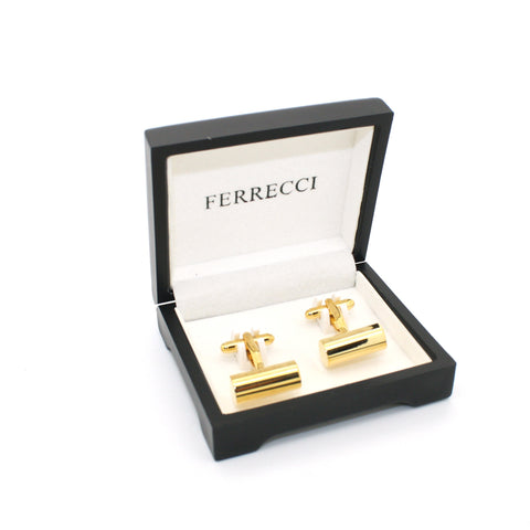 Goldtone Brass Cylinder Cuff Links With Jewelry Box