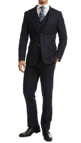 Bradford Navy Slim Fit 3pc Tweed Suit