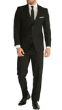 PL1969 Mens Black Slim Fit 2 piece Notch Lapel Suit - FHYINC best men's suits, tuxedos, formal men's wear wholesale
