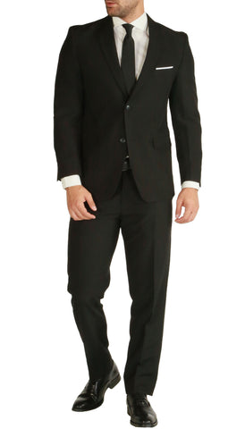 PL1969 Mens Black Slim Fit 2 piece Notch Lapel Suit