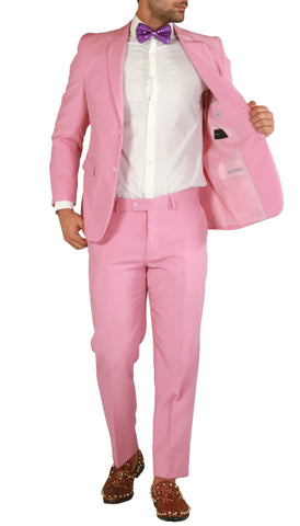 PL1969 Mens Pink Slim Fit 2pc Suit