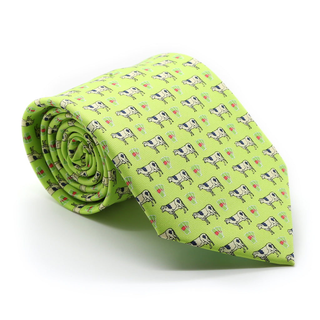 Cow Lime Green Necktie with Handkerchief Set - FHYINC best men