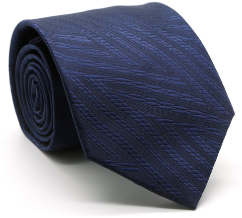 Mens Dads Classic Navy Geometric Pattern Business Casual Necktie & Hanky Set IO-1