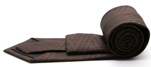 Mens Dads Classic Brown Geometric Pattern Business Casual Necktie & Hanky Set IO-2