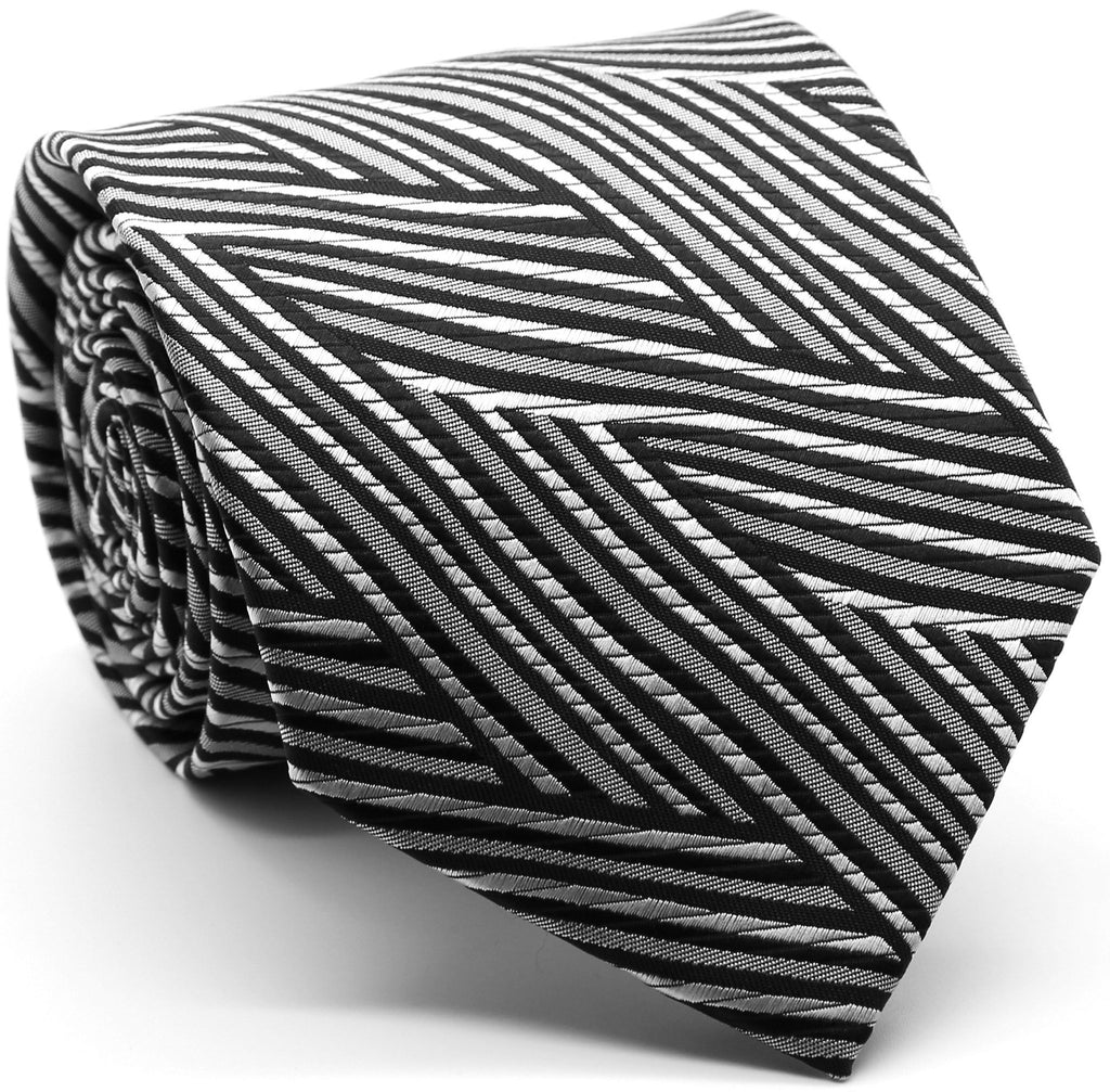 Mens Dads Classic Black Geometric Pattern Business Casual Necktie & Hanky Set IO-4 - FHYINC best men