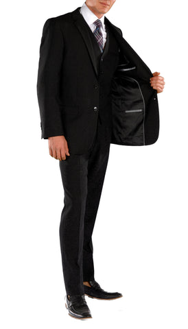 Black Slim Fit Suit  - 3PC - JAX