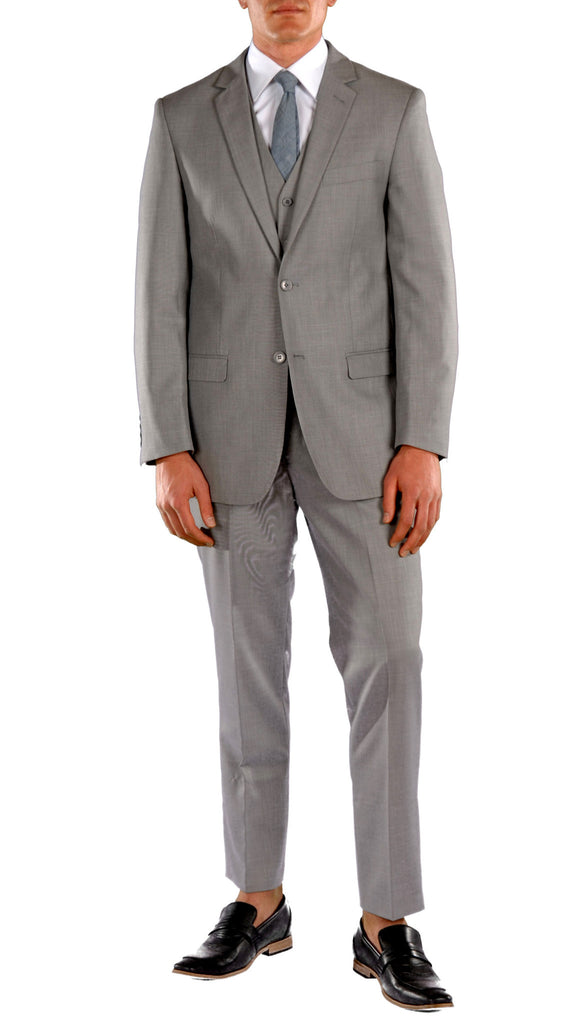 Light Grey Slim Fit Suit - 3PC - JAX - FHYINC best men