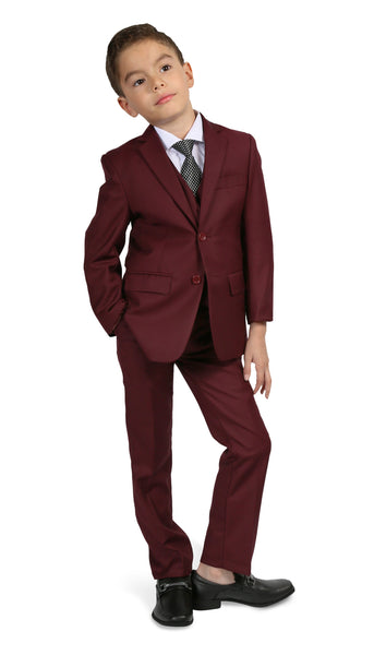 Ferrecci Boys JAX JR 5pc Suit Set Burgundy - FHYINC best men's suits, tuxedos, formal men's wear wholesale