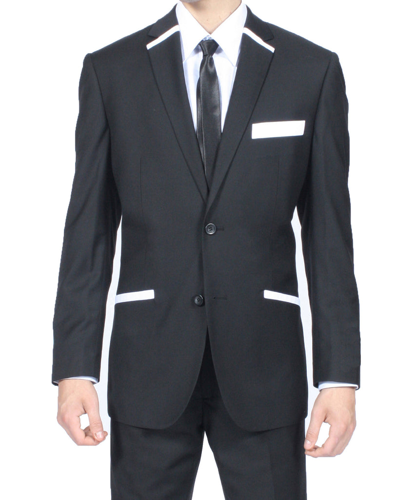 The JerseyBoy Black White Slim Fit Mens Blazer - FHYINC best men's suits, tuxedos, formal men's wear wholesale