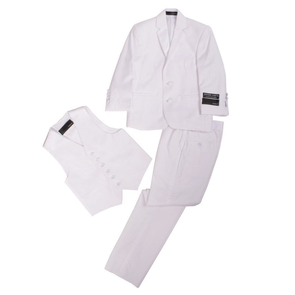 Boys White KTUX 3pc Premium Tuxedo Suit - FHYINC best men's suits, tuxedos, formal men's wear wholesale