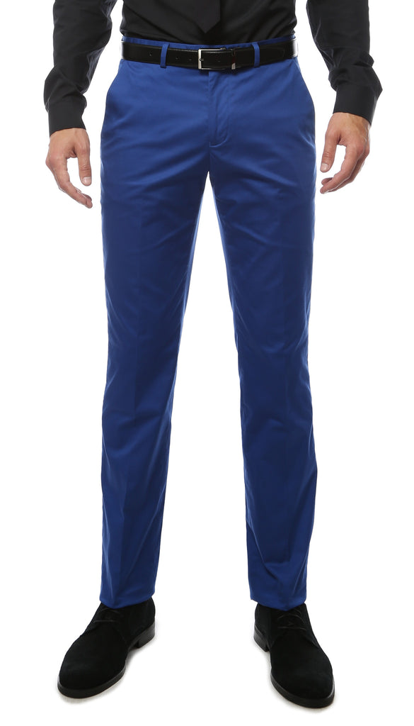 Zonettie Kilo Royal Blue Straight Leg Chino Pants - FHYINC best men