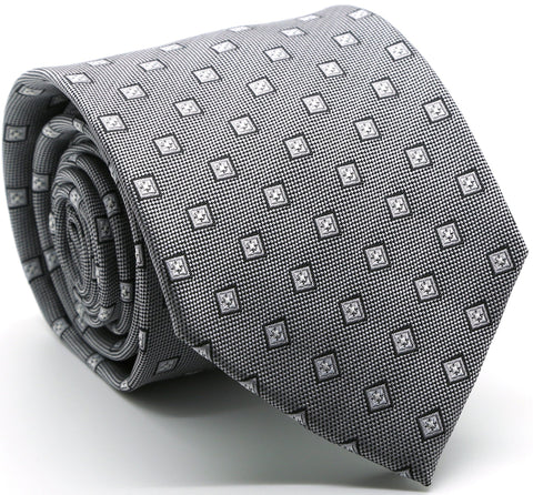 Mens Dads Classic Grey Geometric Pattern Business Casual Necktie & Hanky Set KO-3