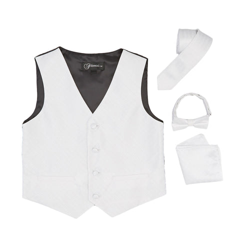 Premium Boys Off White Diamond Vest 300 Set
