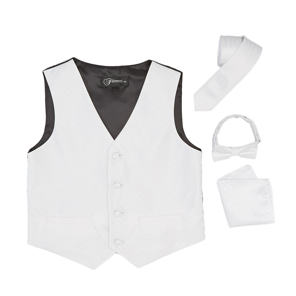 Premium Boys White Diamond Vest 300 Set