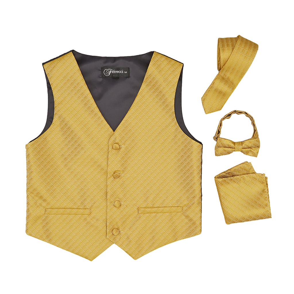 Premium Boys Gold Diamond Vest 300 Set