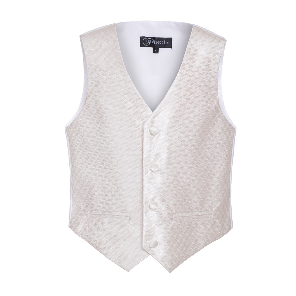Ferrecci Boys 300 Series Vest Set Off White - FHYINC best men