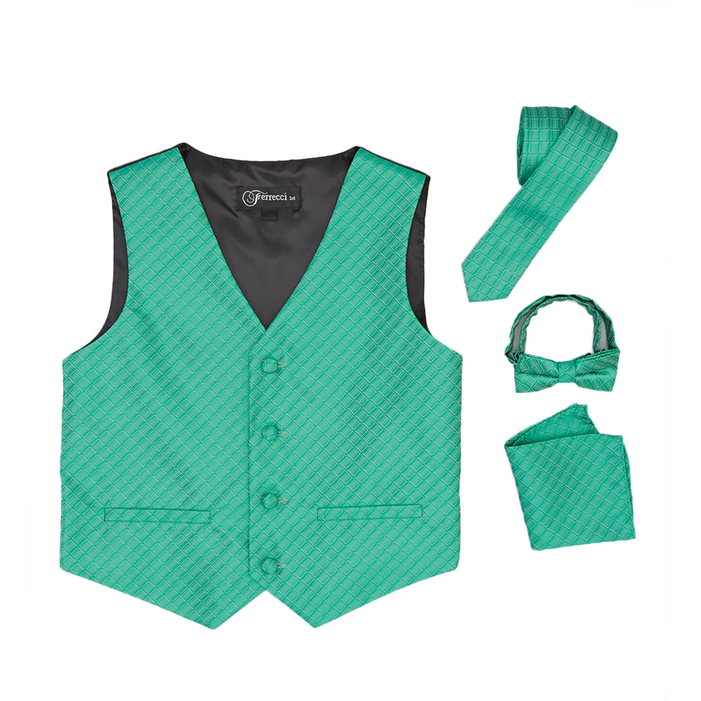 Ferrecci Boys 300 Series Vest Set Emerald - FHYINC best men