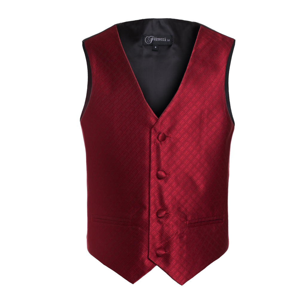 Ferrecci Boys 300 Series Vest Set Wine - FHYINC best men