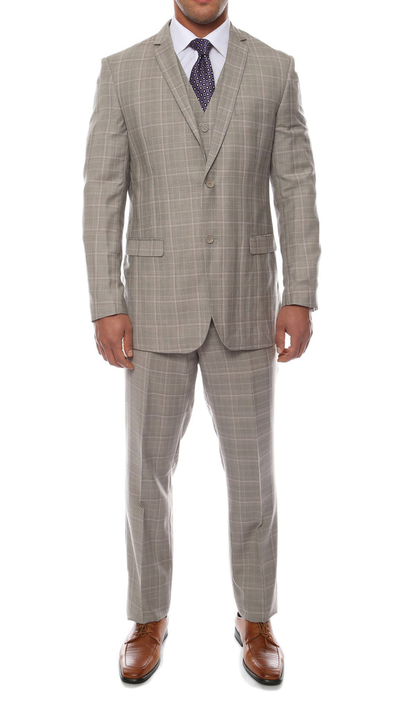 The Zonettie Lazio Taupe Grey 3pc vested slim fit plaid suit