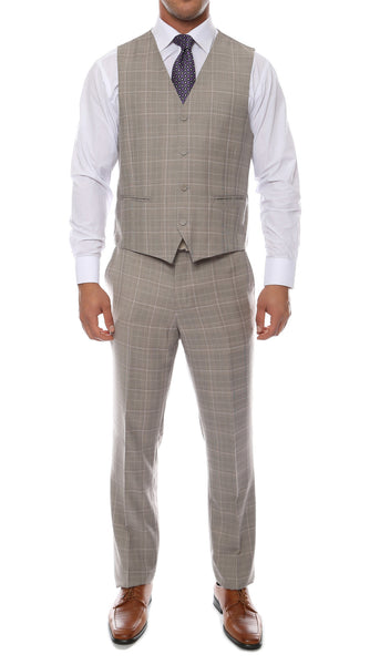 Lazio Taupe Grey 3pc Vested Slim Fit Plaid Suit