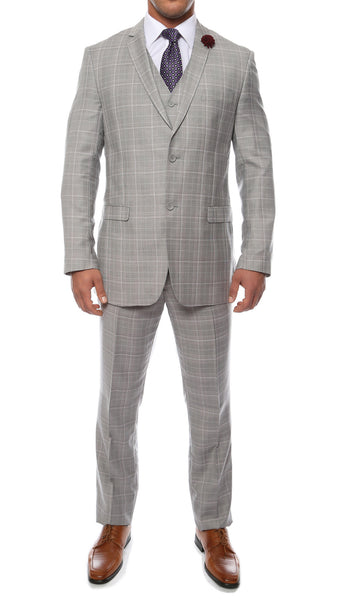 The Zonettie Lazio Light Grey 3pc vested slim fit plaid suit