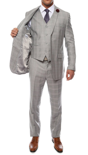 Lazio Light Grey 3pc Vested Slim Fit Plaid Suit