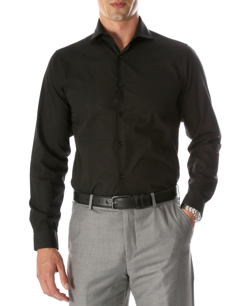 Leo Mens Black Slim Fit Cotton Dress Shirt - FHYINC best men