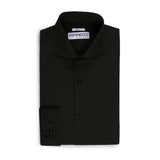 Leo Mens Black Slim Fit Cotton Dress Shirt - FHYINC best men's suits, tuxedos, formal men's wear wholesale