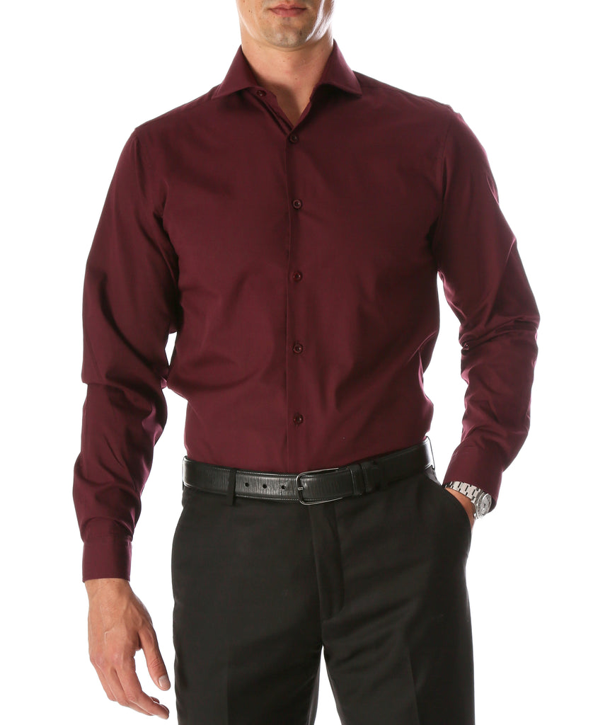 Leo Mens Burgundy Slim Fit Cotton Dress Shirt - FHYINC best men