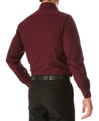 Leo Mens Burgundy Slim Fit Cotton Dress Shirt