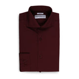 Leo Mens Burgundy Slim Fit Cotton Dress Shirt - FHYINC best men's suits, tuxedos, formal men's wear wholesale