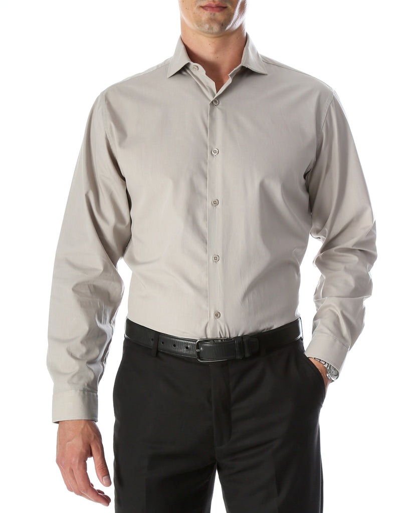 Leo Mens Grey Slim Fit Cotton Dress Shirt - FHYINC best men