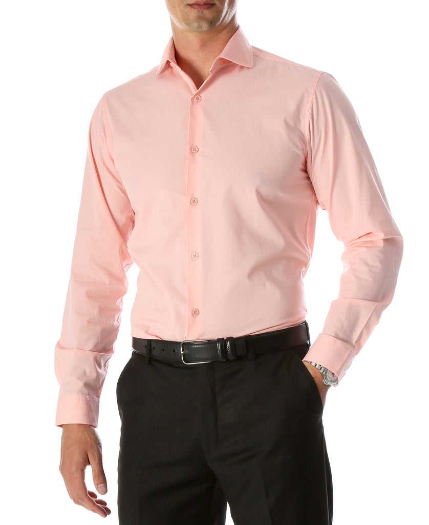 Leo Mens Pink Slim Fit Cotton Dress Shirt - FHYINC best men