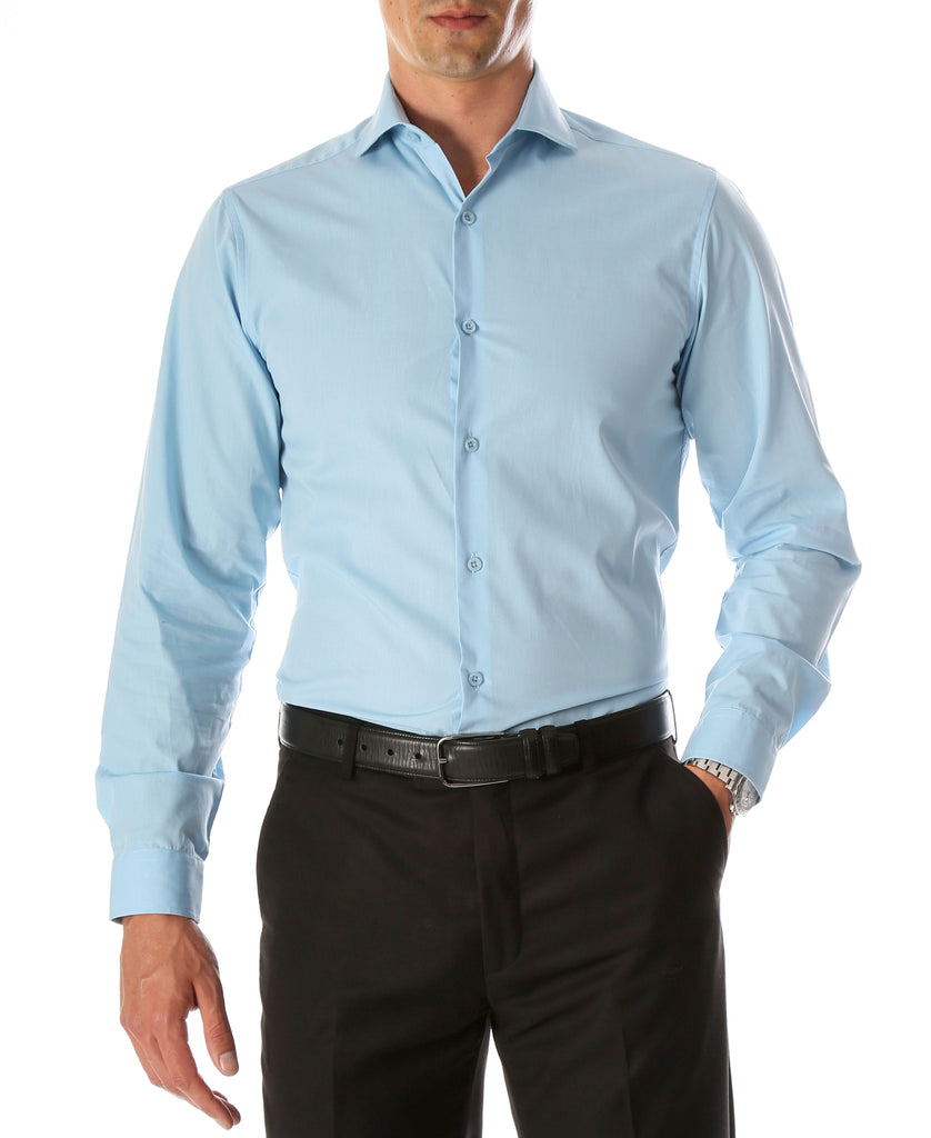 Leo Mens Sky Blue Slim Fit Cotton Dress Shirt - FHYINC best men