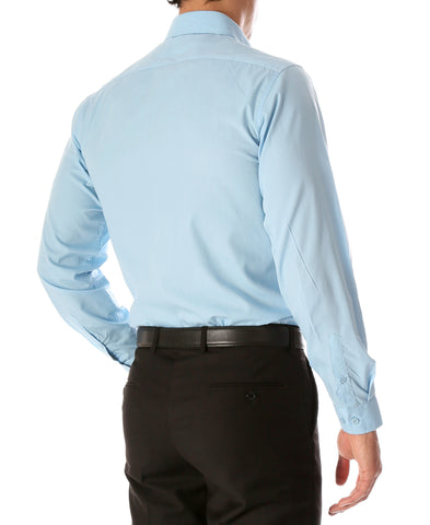 Leo Mens Sky Blue Slim Fit Cotton Dress Shirt