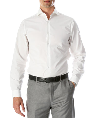 Leo Mens Slim Fit Snow White Dress Shirt