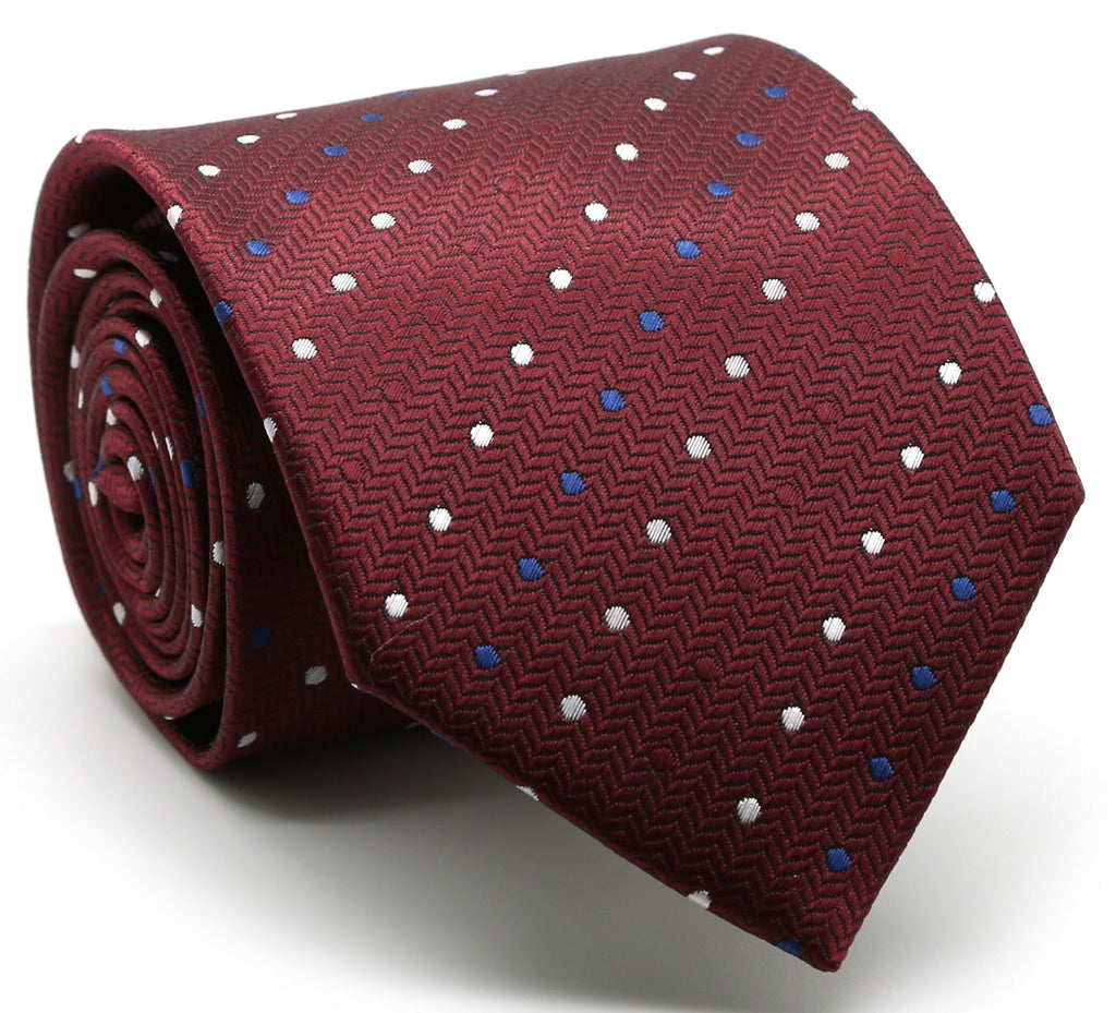 Mens Dads Classic Red Geometric Pattern Business Casual Necktie & Hanky Set LO-5 - FHYINC best men