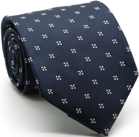 Mens Dads Classic Navy Geometric Pattern Business Casual Necktie & Hanky Set LO-8