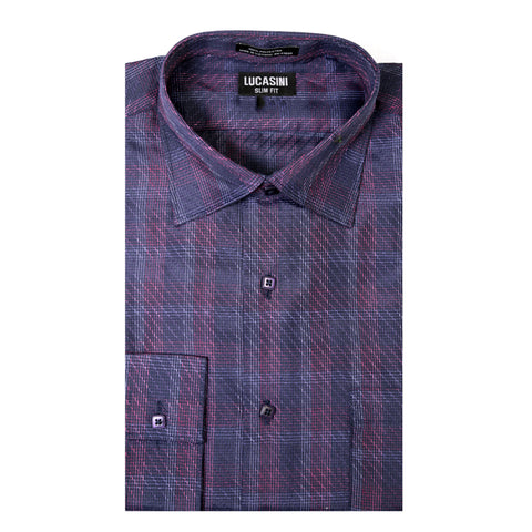 Lucasini Men's Purple Slim Fit Dress Shirt
