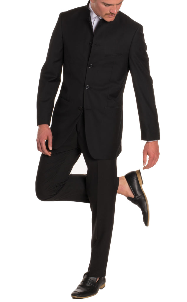 Mandarin Collar Suit - 2 Piece - Black - FHYINC best men