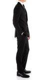Mason Black Men's Premium 2pc Premium Wool Slim Fit Suit - FHYINC best men's suits, tuxedos, formal men's wear wholesale