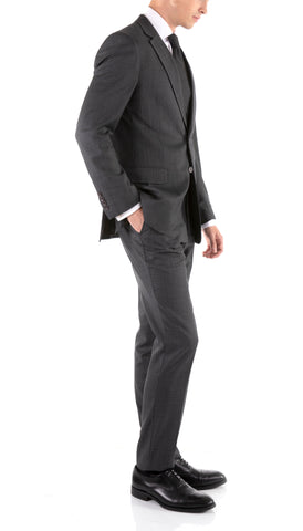 Mason Charcoal Men's Premium 2pc Premium Wool Slim Fit Suit