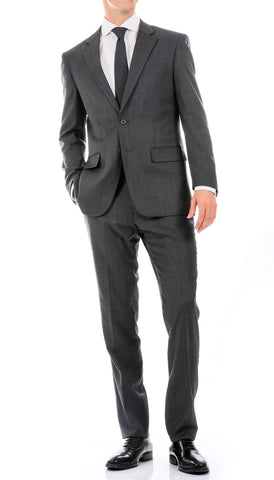 Mason Heather Grey Men's Premium 2pc Premium Wool Slim Fit Suit