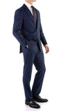 Mason Navy Men's Premium 2pc Premium Wool Slim Fit Suit - FHYINC best men's suits, tuxedos, formal men's wear wholesale